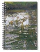 White Ducks On Water Spiral Notebook