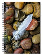 White Feather On River Stones Spiral Notebook