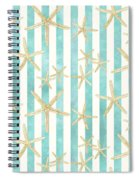 White Finger Starfish Watercolor Stripe Pattern Spiral Notebook