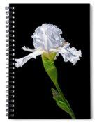 White Iris On Black Background Spiral Notebook