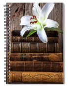 White Lily On Antique Books Spiral Notebook
