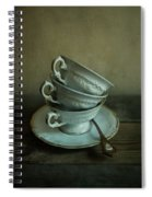 White Ornamented Teacups Spiral Notebook