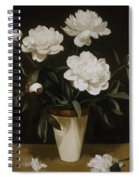 White Peonies In Cone-shaped Vase Spiral Notebook