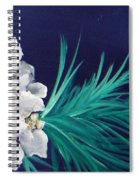 White Poinsettia On Blue Spiral Notebook