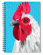 White Rooster With Blue Background Spiral Notebook