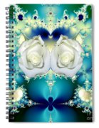 White Roses  And Blue Satin Bouquet Fractal Abstract Spiral Notebook