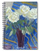 White Roses With Red And Blue Spiral Notebook