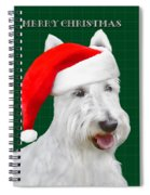 White Scottish Terrier Christmas Plaid Spiral Notebook