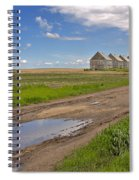 White Sheds On A Prairie Farm In Spring Spiral Notebook
