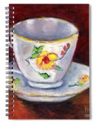 White Tea Cup With Yellow Flowers Grace Venditti Montreal Art Spiral Notebook