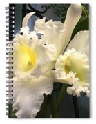 White With Yellow Orchids  Spiral Notebook