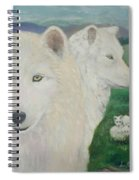 White Wolves Guarding Their Pups Spiral Notebook