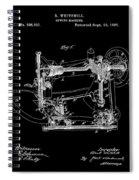 Whitehill Sewing Machine Patent 1885 Black Spiral Notebook