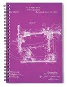 Whitehill Sewing Machine Patent 1885 Pink Spiral Notebook
