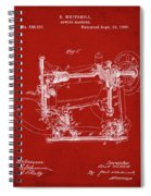 Whitehill Sewing Machine Patent 1885 Red Spiral Notebook