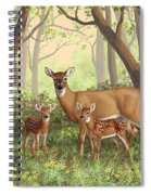 Whitetail Doe And Fawns - Mom's Little Spring Blossoms Spiral Notebook