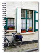Whitewashed Brick House With Green Trimmed Shutters In Bruges Spiral Notebook