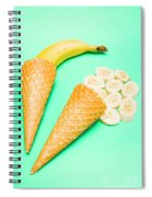 Whole Bannana And Slices Placed In Ice Cream Cone Spiral Notebook