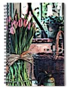 Wicker Basket And Flowers Spiral Notebook