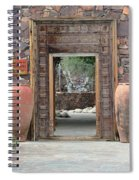 Wider Shot Stone Garden Wall And Clay Urns Spiral Notebook