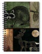 Wild Racoon And Deer Patchwork Spiral Notebook