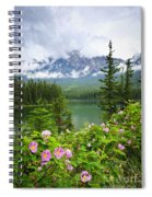 Wild Roses And Mountain Lake In Jasper National Park Spiral Notebook