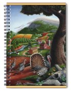 Wild Turkeys In The Hills Country Landscape - Square Format Spiral Notebook