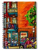 Wilensky Diner Little League Expo Kids Baseball Painting Montreal Scene Canadian Art Carole Spandau  Spiral Notebook