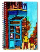Wilensky's Lunch Counter With School Bus Montreal Street Scene Spiral Notebook