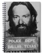 Willie Nelson Mug Shot Vertical Black And White Spiral Notebook