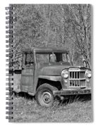 Willys Jeep Pickup Truck Monochrome Spiral Notebook