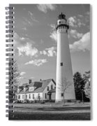 Wind Point Lighthouse And  Old Coast Guard Keepers Quarters  3 Spiral Notebook
