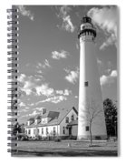 Wind Point Lighthouse And  Old Coast Guard Keepers Quarters.   Black And White Spiral Notebook