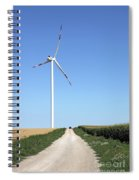 Wind Turbine On Field With Country Road Spiral Notebook