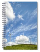 Wind Turbines On A Hill Under A Blue Sky Spiral Notebook