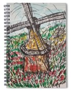 Windmill And Tulips  Spiral Notebook