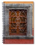 Window On Orange Wall San Miguel De Allende Spiral Notebook