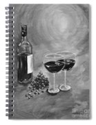 Wine On My Canvas - Black And White - Wine For Two Spiral Notebook