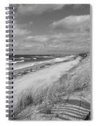 Winter Beach View - Black And White Spiral Notebook