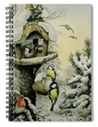 Winter Bird Table With Blue Tits Spiral Notebook