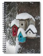 Winter Birdhouses Spiral Notebook