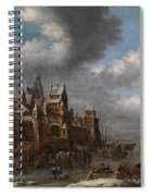 Winter Landscape With Horses Sleighs And Skaters In Front Of A Fortified Town, Spiral Notebook