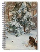 Winter Landscape With Hunters And Dogs Spiral Notebook