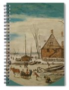 Winter Landscape With Skaters And A Farm House Spiral Notebook