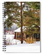Winter Log Cabin 3 - Paint Spiral Notebook