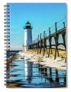 Winter Reflection At Manistee Light Spiral Notebook