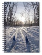 Winter Sport X-country Skis In Sunny Forest Tracks Spiral Notebook