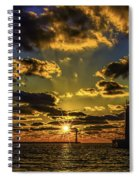 Winter Sunset At Muskegon Channel Light Spiral Notebook