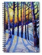 Winter Woodland Sunset Modern Impressionism Palette Knife Oil Painting Spiral Notebook