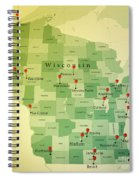 Wisconsin Map Square Cities Straight Pin Vintage Spiral Notebook